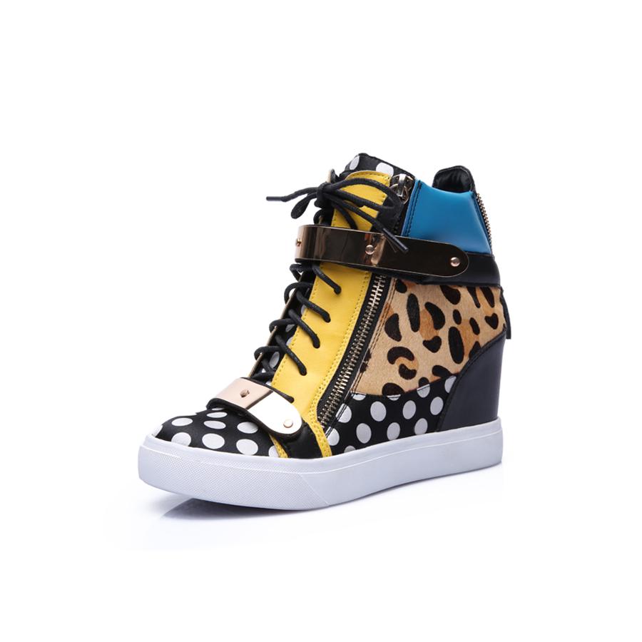 2015 новый двойной молнии небольшой Европы и gz высокий женский металл увеличился в леопардовым принтом липучки обувь повседневная обувь кожаная