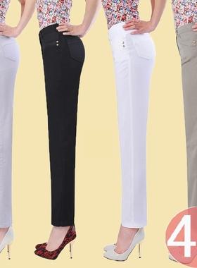 白色夏季薄款九分裤女中老年高腰女裤小直筒休闲裤加肥加大妈妈裤