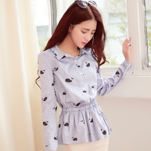 2015 autumn outfit han edition female dolphins sweet cotton printing light blue long sleeve shirt skirt cultivate one's morality fold