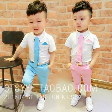 童装夏装儿童宝宝男童短袖衬衫花童礼服套装西裤中裤西装两件套潮