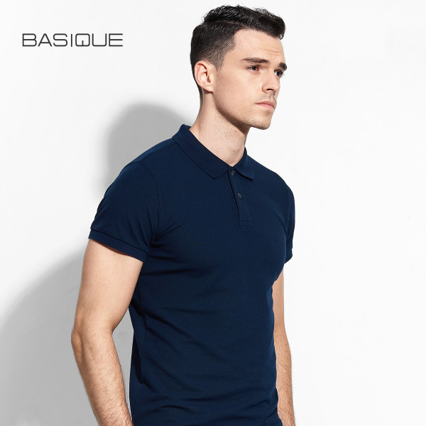 Yuanben BASIQUE Slim short sleeve cotton pique POLO shirt solid color T-shirt lapel men's business casual simplicity