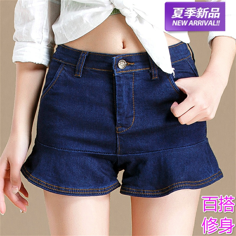 High waisted denim shorts womens summer Korean version loose and thin Ruffle versatile wide leg student stretch jeans skirt fashion