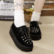 Puqi 2014 black platform shoes female personality rivets thick-soled casual shoes leather shoes flashes