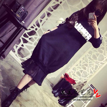 111 # new south Korean alphabet printed chiffon round collar loose stitching fleece fishtail skirt length dresses
