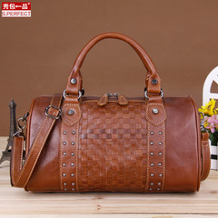 Show quality leather ladies bags header layer of leather women bag 2015 fall/winter fashion woven hand shoulder bag