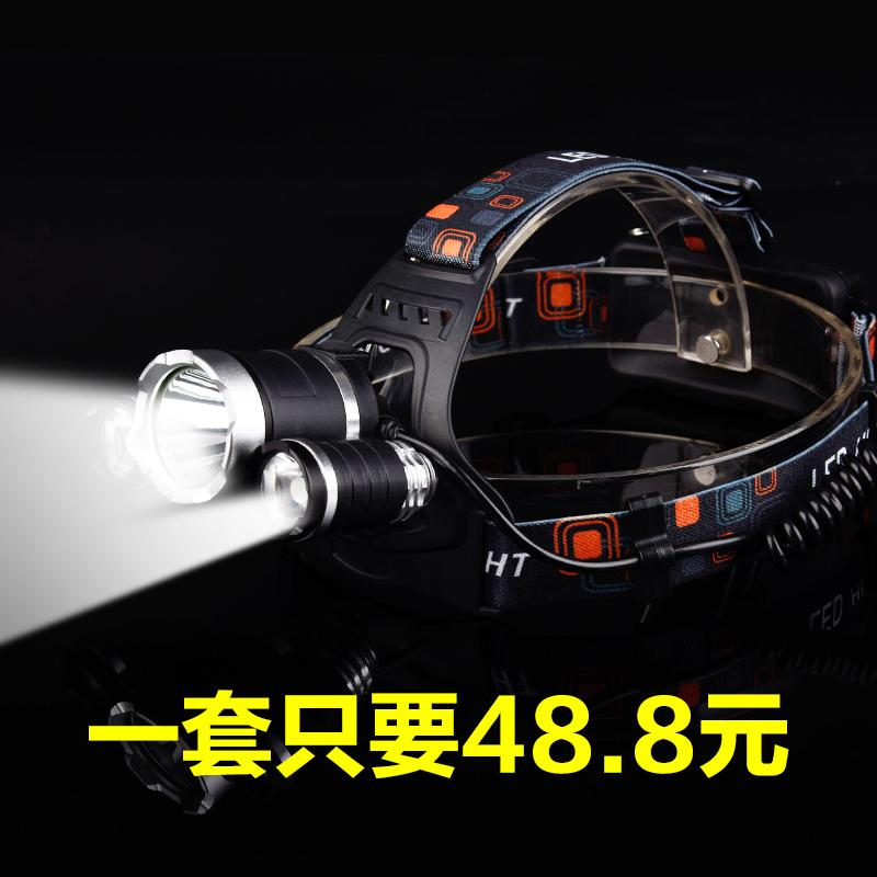 微笑鯊T6強光頭燈led充電遠射夜釣魚超亮疝氣礦燈變焦頭戴式手電