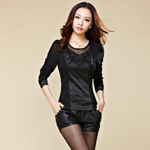 秋冬新款韩版加绒加厚小衫蕾丝pu皮网纱打底衫女长袖保暖上衣