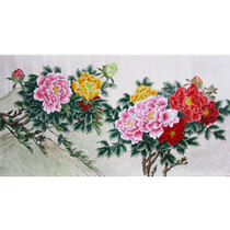 DIY handmade material embroidery embroidered DIY kit large embroidery hand embroidery painting DIY custom peony hanging painting