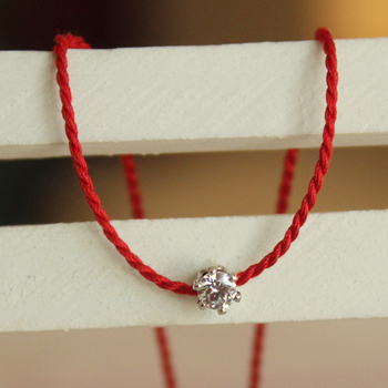 South Korea 72W imported zircon diamond pearl red rope lifeline Bracelet 925 Sterling Silver Buckle extension chain