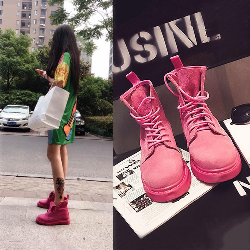 2017 новый ретро натуральная кожа мартин сапоги женщина британская мода лето розовый один ботинки студент квартира толстая ботинки
