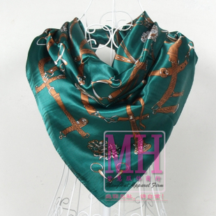 Ms wild silk scarf large square silk scarves harness chain European and American style green pink