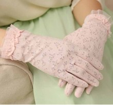 Prevent bask in summer cotton gloves ms cotton lace outdoor driving gloves gloves packages mail is prevented bask in short lace