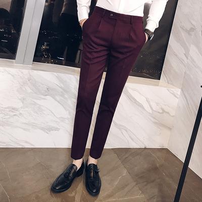 面料有型男士修身商务长裤WK84/P85酒红