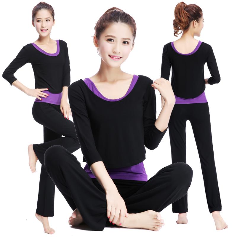 中富 新品中長袖瑜伽服套裝秋瑜珈服女士顯瘦健身愈加服三件套