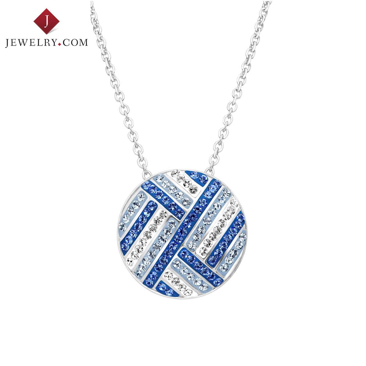 Crystaluxe 925 серебро инкрустация синий сваровски мир странный элемент кристалл круг круг подвески отправить ожерелье новые товары