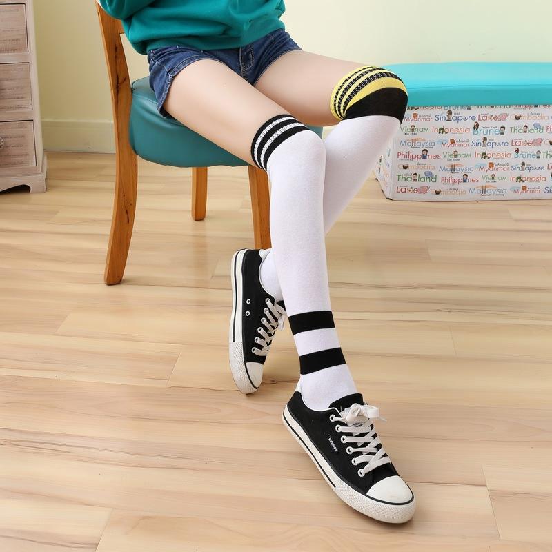 花潮花汐日系学院风条杠长筒袜过膝学生袜校服袜子春秋高筒袜女袜