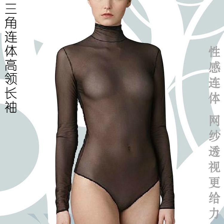 Перспектива сетки длинные сексуальный высокий воротник треугольников соединился сиамские туго белье рубашки в конце gn64