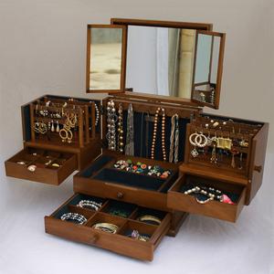 创意多层首饰盒实木质公主欧式复古多功能饰品首饰收纳盒结婚情人
