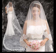 The new 2015 brides veil wedding accessories Two meters long soft cotton bud silk yarn embroidery lace to get married