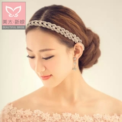 Meitai bride rhinestone hair accessories Korean hand-woven hair band Bridal jewelry season sweet to do belt B0607