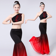 2018 new Yi dance performance clothing women's bag arm skirt Slim belly dance costume adult performance clothing Yangko clothing