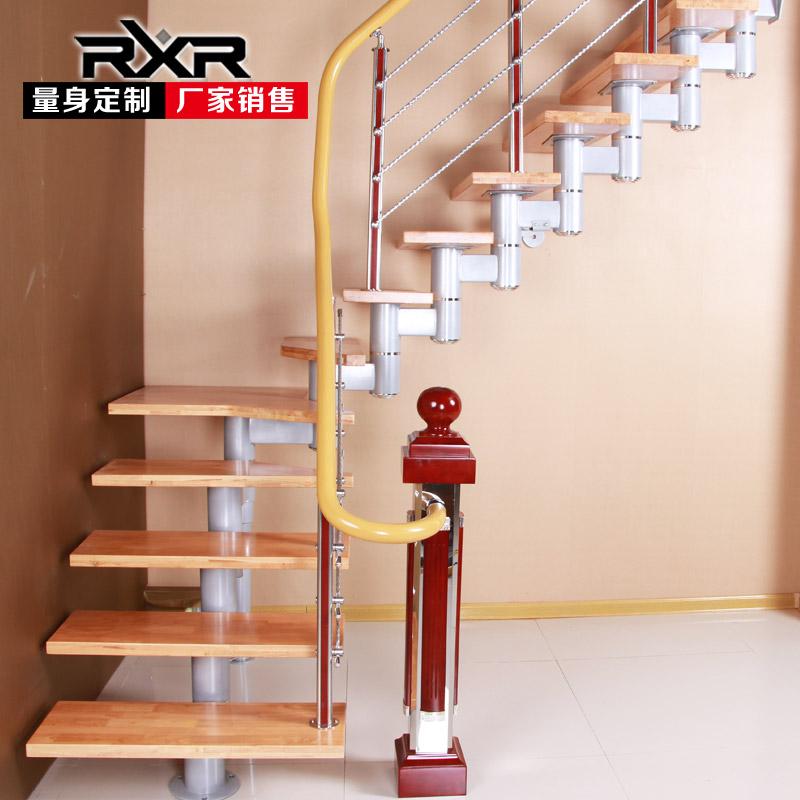 室内整体楼梯别墅楼阁楼复式楼梯跃层斜梁旋转楼梯踏步板简易木梯