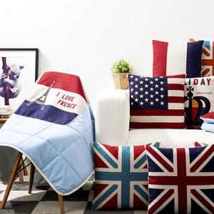 国旗米字现代宜家现代抱枕被两用空调毯棉麻靠垫靠枕被多功能