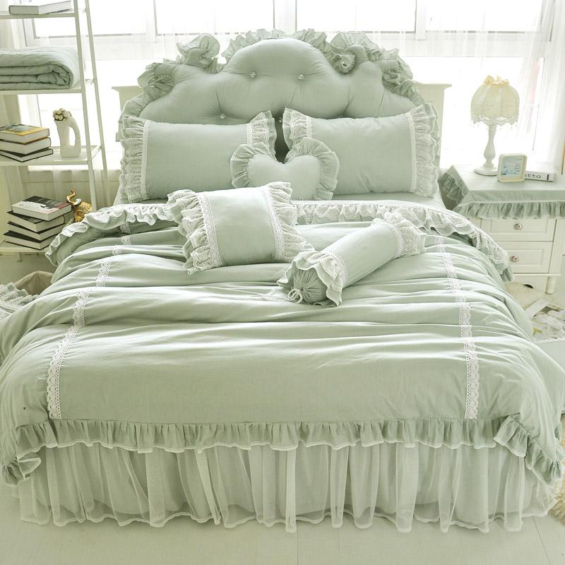 新款韩版全棉纯色四件套 纯棉蕾丝公主床上用品 绿色梦幻床裙包邮