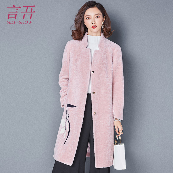 Introduction I 2017 spring new women embroidered long-sleeved big yards long section of sheep-shorn wool coat jacket