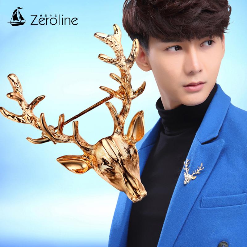男士鹿頭胸針配飾日韓國氣質百搭西服別針潮流情侶款金色麋鹿徽章