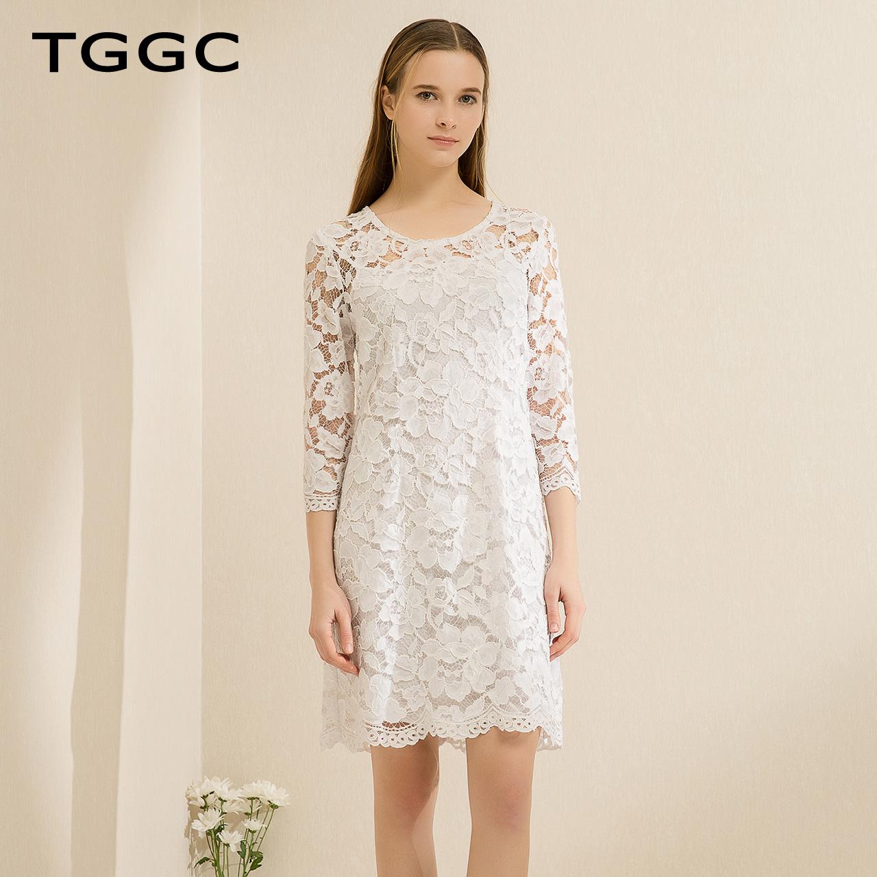 TGGC 2018春装 优雅气质七分袖修身时尚两件套高腰连衣裙女F19880
