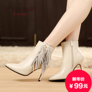 Kang Jiao new fall shoes for fall/winter boots pointed stilettos and bare boots leather UK wind Europe tassel boots