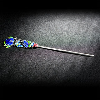 Thai-new limited edition cloisonne Lan Yin decorated hair sticks burning Chinese wind hairpin hair flowers vintage hair accessories