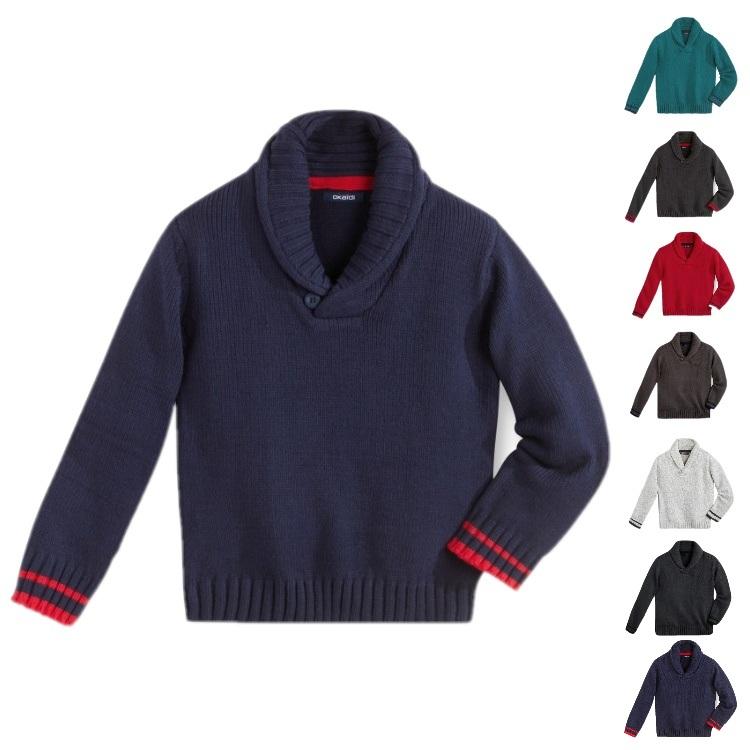 Англия 2015 Ветер мальчик свитер с внешней торговли Детская одежда Осень/Зима дети шаль воротник хлопка свитер