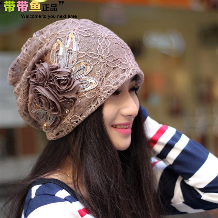 蕾絲帽子女春秋 冬天 潮頭巾帽月子帽堆堆帽 春 包頭套頭帽