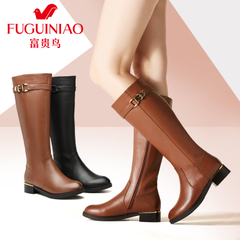 Fuguiniao shoes 2015 winter leather women's boots boots women boots high boots biker boots winter boots and cashmere