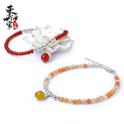 Tokai family Crystal anklet pomegranate azurite stone agate Crystal aquamarine jewelry 925 sterling silver cute Dolphin girl