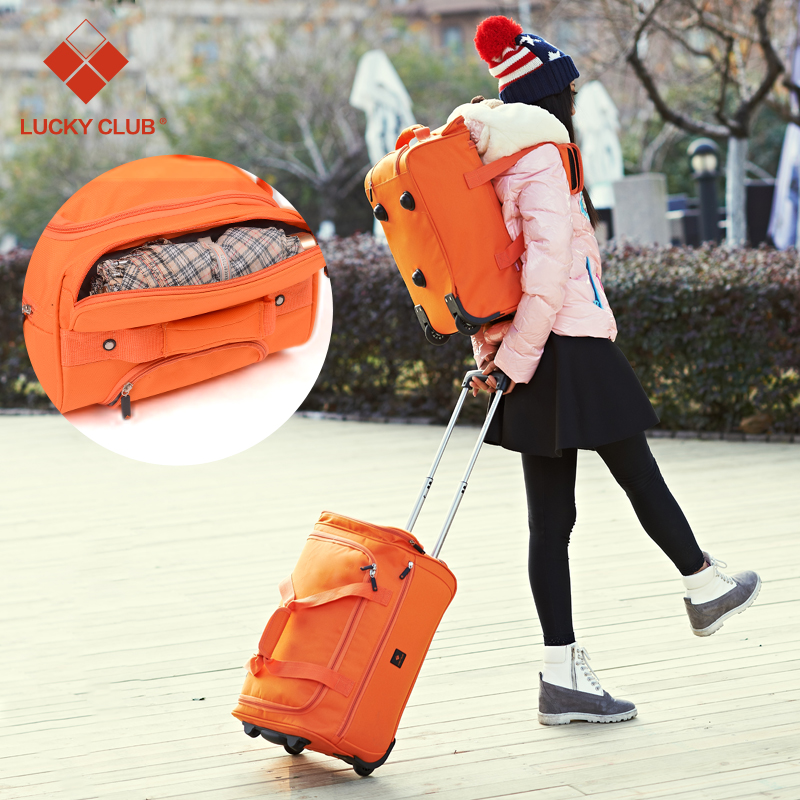 Canvas trolley bag women and men pull bag mini travel bag pull rod small suitcase bag folding function case bag genuine