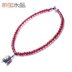 Precious Crystal natural Brazil female 925 Silver rose wine red garnet anklet gold pendants