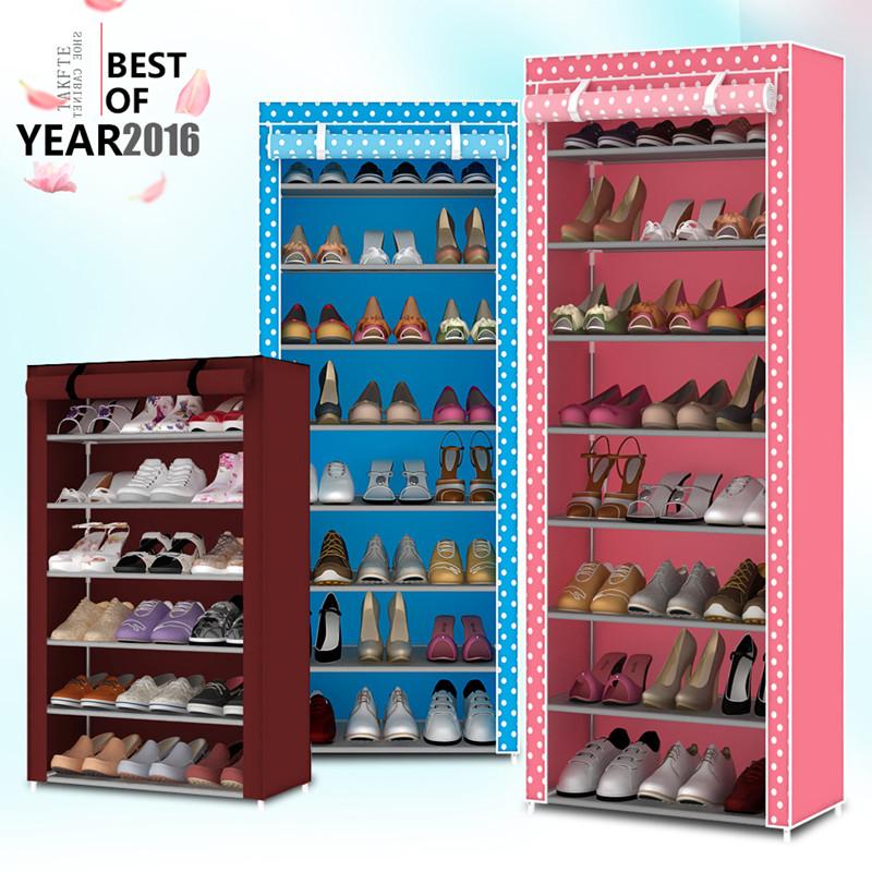 防塵鞋架多層簡易鞋櫃鐵藝鞋架子組裝經濟型布藝鞋櫃收納簡約