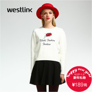 Westlink/West New 2015 winter leisure embroidery letter ladies pullover