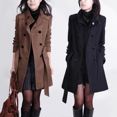 Осень/зима 2014 новый шерстяное пальто Корейский двубортные шерстяные ткани пальто большие свободные женщин длинный бум