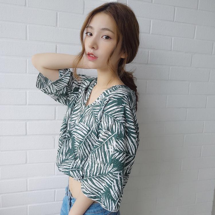 Корея chic праздник ветер свободный дерево лист печать V воротник талия пятый из рукава шифон рубашка женщина лето краткое модель куртка