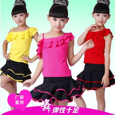 Новые детские летние слинга танца костюмы латинского танца юбки девочек практики классификации детей латинский танец юбка костюм