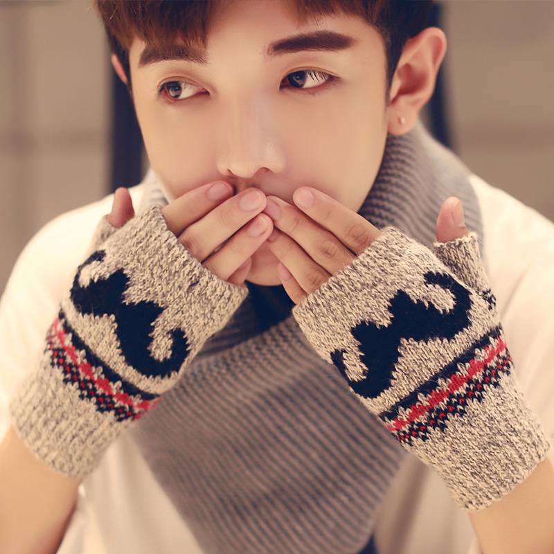 Winter Korean fashion half finger gloves wool men and women Half Finger leisure warm young students writing lovers