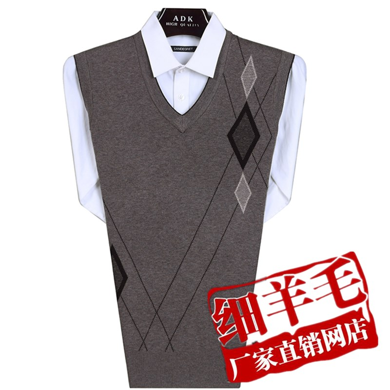 Middle aged mens knitting vest, Dads wool vest, middle-aged and old peoples wool jacket, autumn and winter wool vest, thickened sweater