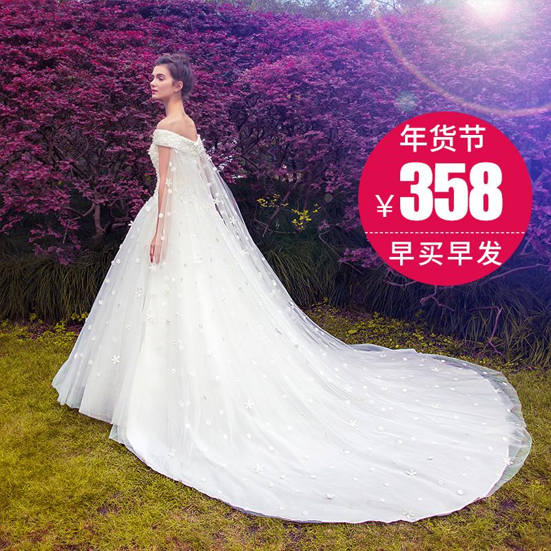 名門新娘婚紗禮服2016 新娘 拖尾一字肩齊地婚紗 婚紗2728