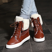 Department of European and American trends winter recreation snow boots short boots leather women boots flat high wool boots are warm and