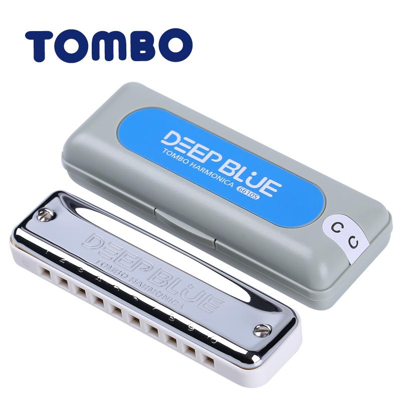 TOMBO reign of the new ten holes 10 holes blues harmonica DEEP BLUE 6610S universal adult children
