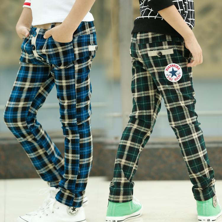 к 2015 году бренд Детская одежда Осень корейских детей мужского пола стрейч Plaid досуг брюки kz0754